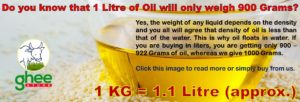 1 kg is equal to 1.1 litre